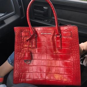 Michael Kors Red Embossed Leather NS Dillon Tote